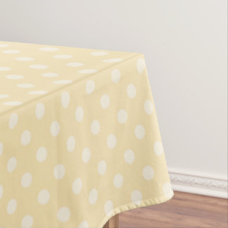 Lemon chiffon yellow polks dots tablecloth