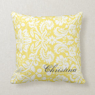 Lemon Damask Pattern Monogram Pillow