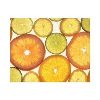 Lemon Lime Orange Grapefruit Citrus Fruit Slices Stretched Canvas Print