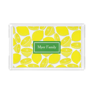 Lemon Personalized Acrylic Serving Tray