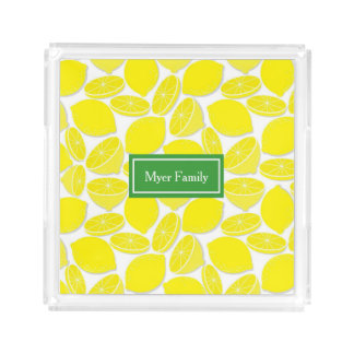 Lemon Personalized Square Acrylic Tray