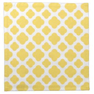 Lemon Yellow and White Quatrefoil Pattern Napkin