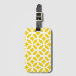 Lemon Yellow Geometric Pattern Baggage Labels Luggage Tag