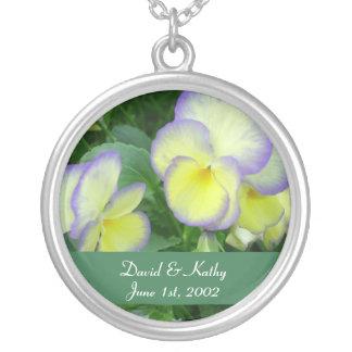 Lemon Yellow Pansies Flower Necklace