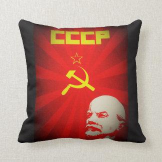 lenin russia soviet communist propaganda vintage f throw pillow