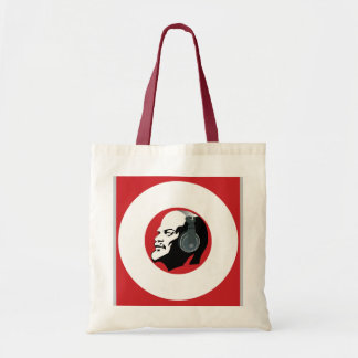 LENIN WITH HEADPHONES (RED AND WHITE) TOTE BAG