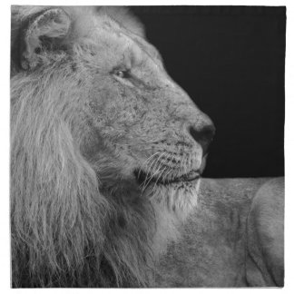 LEO the LION King of the Jungle in Black and White Napkin