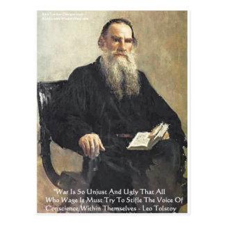 "Leo Tolstoy ""War Is Unjust"" Wisdom Quote Gifts Postcard"