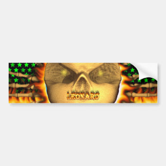 Leonard skull real fire and flames bumper sticker