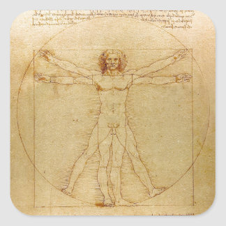 Leonardo da Vinci and Vitruvian Man Square Sticker
