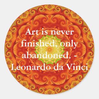 Leonardo da Vinci art quote Classic Round Sticker