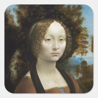 Leonardo Da Vinci Ginevra De' Benci Painting Square Sticker