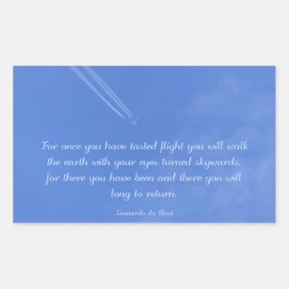 Leonardo Da Vinci inspirational flight quote Rectangular Sticker
