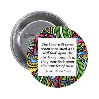 Leonardo Da Vinci vegetarian quote 6 Cm Round Badge