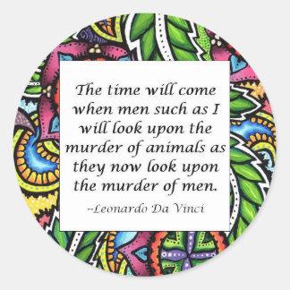 Leonardo Da Vinci vegetarian quote Classic Round Sticker