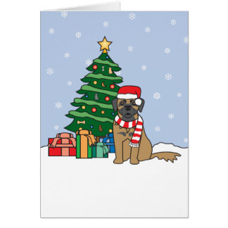 Leonberger and Christmas Tree Card