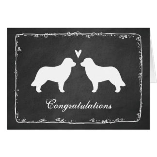 Leonberger Silhouettes Wedding Congratulations Card