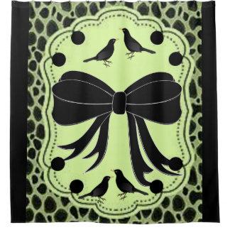 Leopard black bird showercurtain shower curtain
