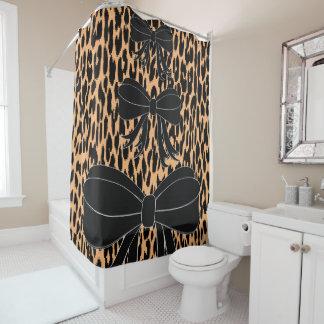 Leopard black bow showercurtain shower curtain