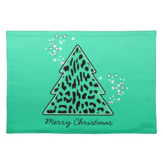Leopard cheetah Christmas Tree placemat