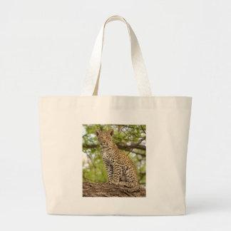 Leopard Cub on a Limb Large Tote Bag