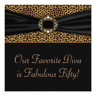 Leopard Diva Womans 50th  Birthday Party Card