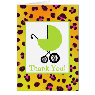Leopard & Green Carriage Baby Shower Thank You Greeting Card