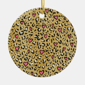 Leopard heart / leopard animal print pink heart round ceramic decoration