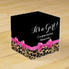 Leopard Hot Pink Bow Its a Girl Safari Baby Shower Favour Box