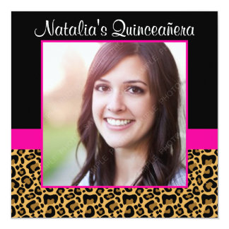Leopard Hot Pink Photo Quinceanera Invitations