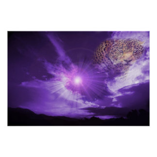 Leopard in purple sky. poster