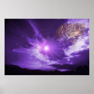 Leopard in purple sky poster