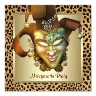 Leopard Mask Gold Masquerade Party Card