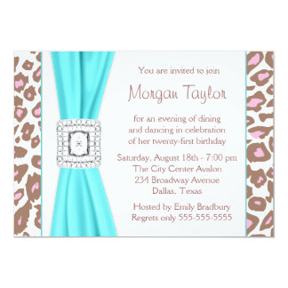 Leopard Pink Brown Teal 21st Birthday Party Card