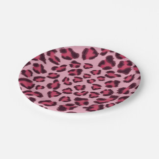 Leopard Pink Paper Plates 7 Inch Paper Plate