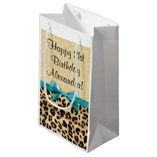 Leopard Print Aqua Blue Bow Girls Womens Birthday Small Gift Bag