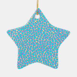 Leopard Print Blue on Yellow Christmas Ornament