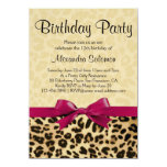 Leopard Print Fuchsia Pink Bow Girl Birthday Party 4.5x6.25 Paper Invitation Card