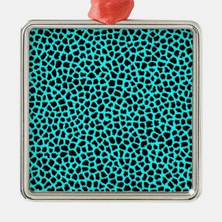Leopard Print Neon tBlue Christmas Ornament