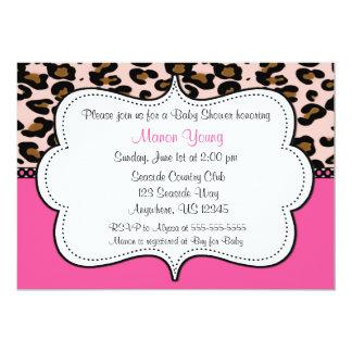 Leopard Print Pink Invitaiton 13 Cm X 18 Cm Invitation Card