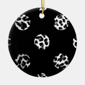 Leopard Print Polka Dots Christmas Ornament