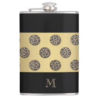 Leopard print polka dots monogram hip flask