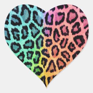 Leopard Print Heart Stickers