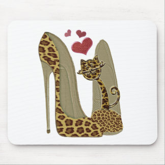 Leopard print Stiletto Shoes and Cute Cat Hearts Mousemat