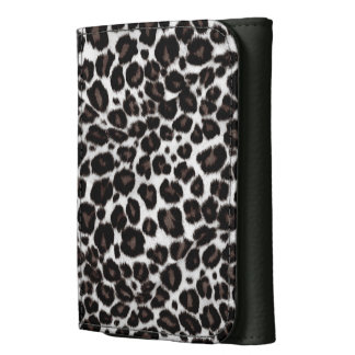 Leopard Print Trendy Women Black and White Stylish Leather Wallets