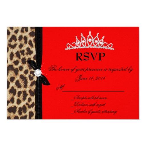 leopard red Quinceanera RSVP Invite
