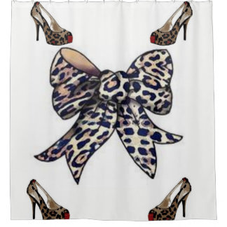 Leopard shoes bow white showercurtain shower curtain