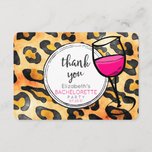 Leopard Spots Pattern Bachelorette Party Thank You