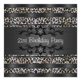 Leopard Womans 21st Birthday Party Card