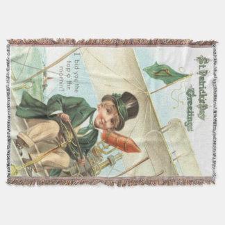 Leprechaun Airplane Harp of Erin Throw Blanket